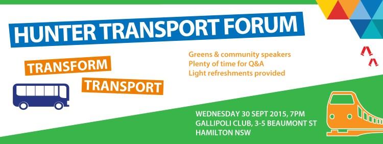 Hunter Transport Forum, Greens NSW, Mehreen Faruqi