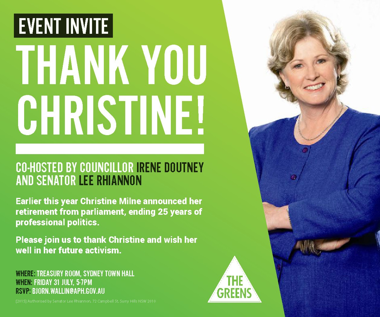 Thank You, Christine Milne, Sydney event