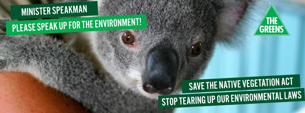 Minister Speakman, please speak up for the environment